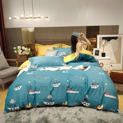 2020新款床单款床笠款四件套套件系列 1.5m床单款四件套 海洋之星 兰
