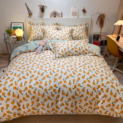2021新款精梳臻棉喷气全棉四件套 1.5m床单款四件套 香橙