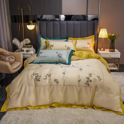 2021新款长绒棉绣四件套- 花容 1.8m床单款四件套 花容 黄
