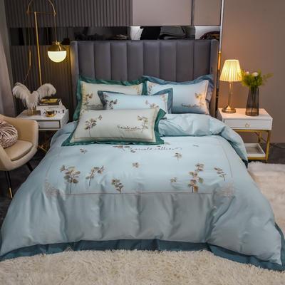 2021新款长绒棉绣四件套- 花容 1.8m床单款四件套 花容 蓝