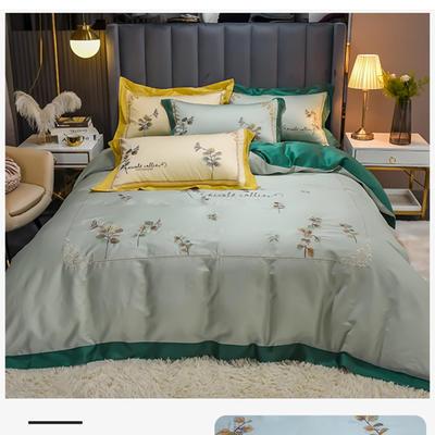 2021新款长绒棉绣四件套- 花容 1.8m床单款四件套 花容 绿