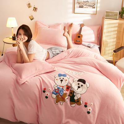 古野家2020新款-双面牛奶绒绣花四件套 床单款四件套1.8m(6英尺)床 抱抱熊 粉