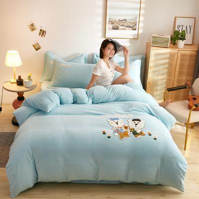 古野家2020新款-双面牛奶绒绣花四件套 床单款四件套1.8m(6英尺)床 抱抱熊兰