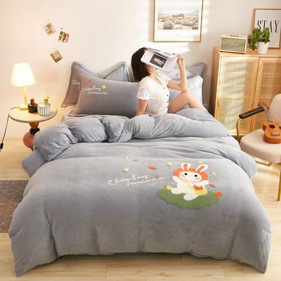 古野家2020新款-双面牛奶绒绣花四件套 床单款四件套1.8m(6英尺)床 乖乖兔 灰