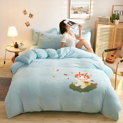 古野家2020新款-双面牛奶绒绣花四件套 床单款四件套1.8m(6英尺)床 乖乖兔 兰
