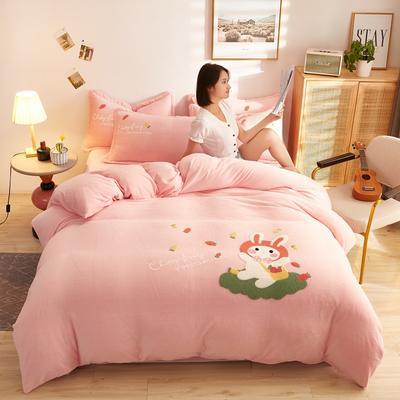 古野家2020新款-双面牛奶绒绣花四件套 床单款四件套1.8m(6英尺)床 乖乖兔粉