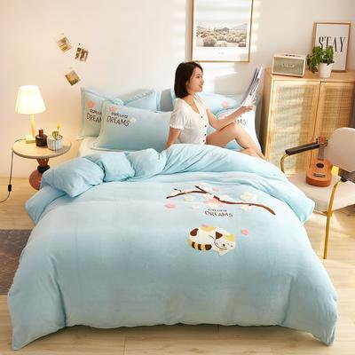 古野家2020新款-双面牛奶绒绣花四件套 床单款四件套1.8m(6英尺)床 花花猫兰