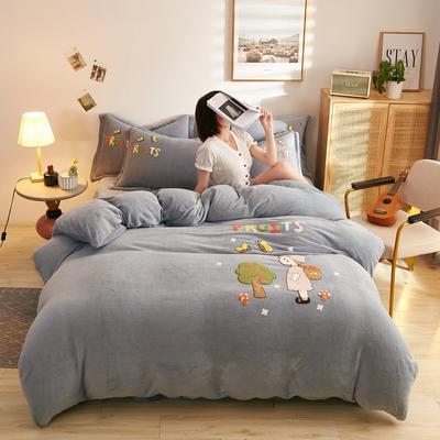 古野家2020新款-双面牛奶绒绣花四件套 床单款四件套1.5m(5英尺)床 小萝莉 灰