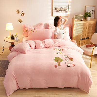 古野家2020新款-双面牛奶绒绣花四件套 床单款四件套1.8m(6英尺)床 小萝莉粉