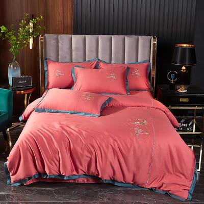 2021新款60长绒棉韩版刺绣系列四件套 1.8m(6英尺)床 砖红 (新中式)