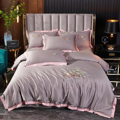 2021新款60长绒棉韩版刺绣系列四件套 1.8m(6英尺)床 高级灰(日式)