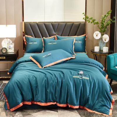 2021新款60长绒棉韩版刺绣系列四件套 1.8m(6英尺)床 心驰-星耀绿
