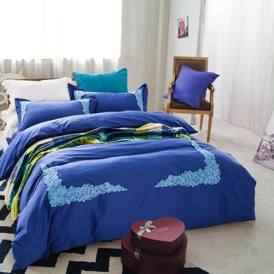 G+家纺 全棉蕾丝四件套 1.8m(6英尺)床 宝蓝色