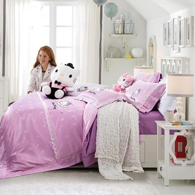 G+家纺 天丝提花凯蒂猫四件套 1.5m(5英尺)床 凯蒂粉