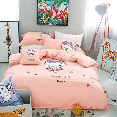 G+家纺 全棉卡通绣花系列四件套 1.5m(5英尺)床 KT猫
