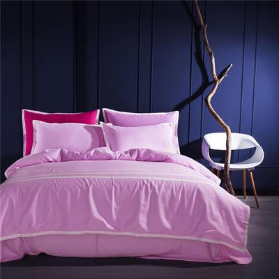 G+家纺 全棉阳绒刺绣四件套 1.5m(5英尺)床 粉色