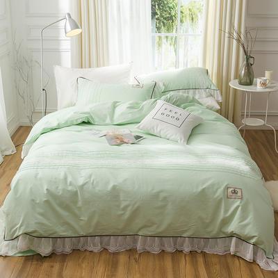 G+家纺 韩版公主磨毛系列四件套 1.8m(6英尺)床 白绿