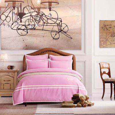 G+家纺 全棉阳绒刺绣四件套 1.5m(5英尺)床 玫红