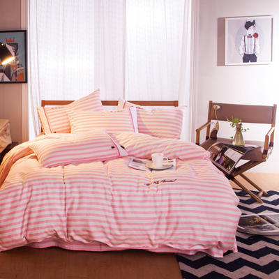 G+家纺 宜家全棉阳绒系列四件套 1.5m(5英尺)床 粉妆