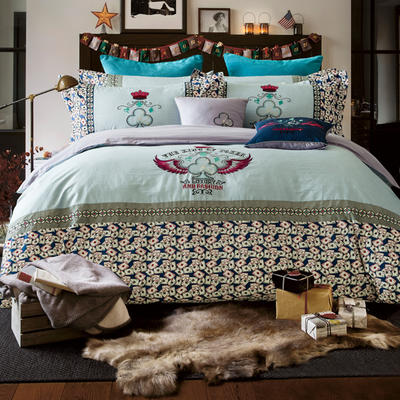G+家纺 设计师款印加绣系列四件套 1.5m(5英尺)床 皇冠