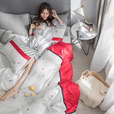 G+家纺 臻丝绣花四件套 1.8m(6英尺)床 你好巴黎