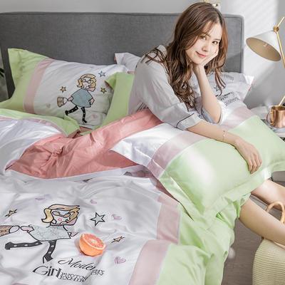 G+家纺 臻丝绣花四件套 1.8m(6英尺)床 摩登女孩