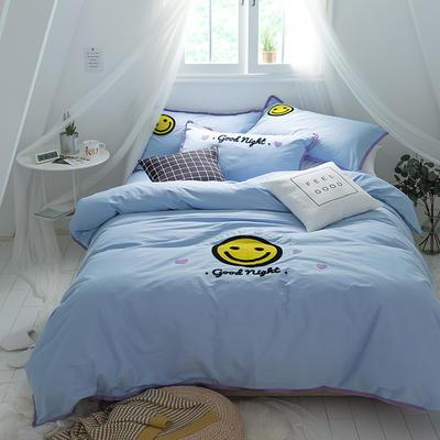 G+家纺 立体牙刷绣磨毛系列四件套 1.8m(6英尺)床 微笑 蓝