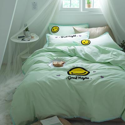 G+家纺 立体牙刷绣磨毛系列四件套 1.8m(6英尺)床 微笑 绿