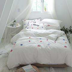 G+家纺 立体牙刷绣磨毛系列四件套 1.5m(5英尺)床 樱桃 白