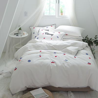 G+家纺 立体牙刷绣磨毛系列四件套 1.8m(6英尺)床 樱桃 白
