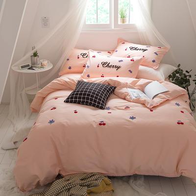 G+家纺 立体牙刷绣磨毛系列四件套 1.8m(6英尺)床 樱桃 玉