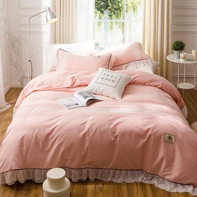 G+家纺 韩版公主磨毛系列四件套 1.8m(6英尺)床 薄红梅