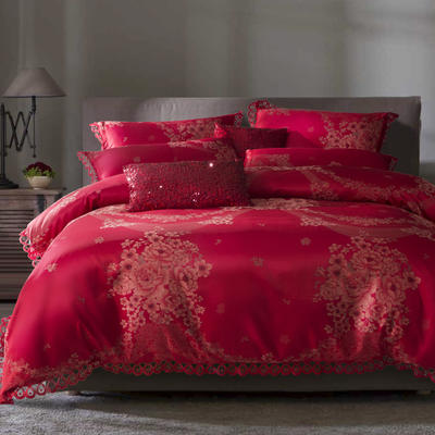 G+家纺 A版魅彩丝提花B版13372全棉四件套 1.8m(6英尺)床 花漾诗雨 富贵红