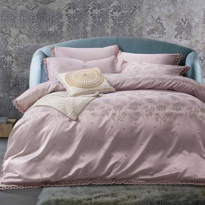 G+家纺 A版魅彩丝提花B版13372全棉四件套 1.8m(6英尺)床 柔情 浅豆沙