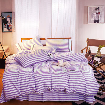 G+家纺 宜家全棉阳绒系列四件套 1.5m(5英尺)床 紫沫