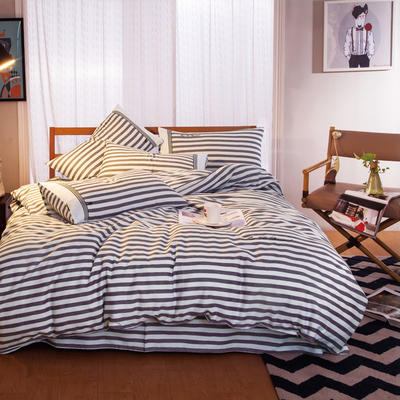 G+家纺 宜家全棉阳绒系列四件套 1.5m(5英尺)床 子灰