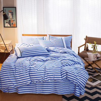 G+家纺 宜家全棉阳绒系列四件套 1.5m(5英尺)床 兰馨