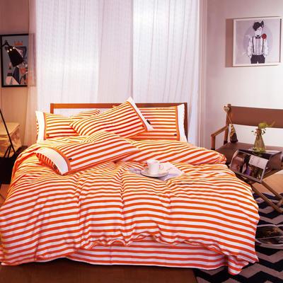 G+家纺 宜家全棉阳绒系列四件套 1.5m(5英尺)床 红颜