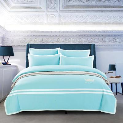G+家纺 全棉阳绒刺绣四件套 1.5m(5英尺)床 天空兰