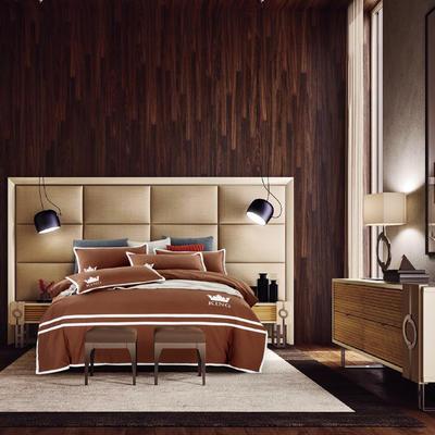 G+家纺 全棉阳绒刺绣四件套 1.5m(5英尺)床 深咖