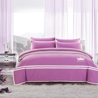 G+家纺 全棉阳绒刺绣四件套 1.5m(5英尺)床 浅紫