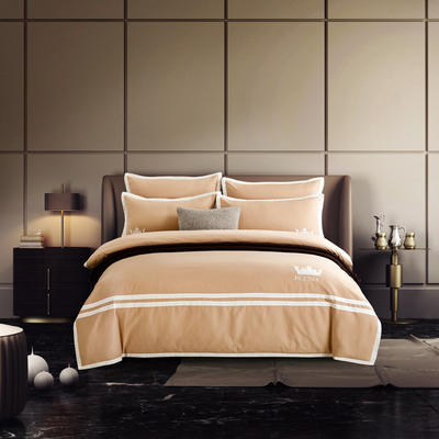 G+家纺 全棉阳绒刺绣四件套 1.5m(5英尺)床 浅咖