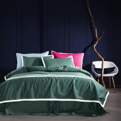 G+家纺 全棉阳绒刺绣四件套 1.5m(5英尺)床 墨绿