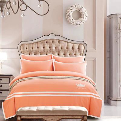 G+家纺 全棉阳绒刺绣四件套 1.5m(5英尺)床 橘色