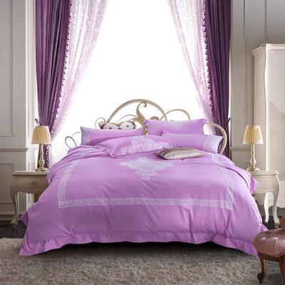 G+家纺 60贡缎刺绣六件套 1.5m(5英尺)床 粉红色