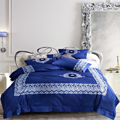 G+家纺 60贡缎刺绣六件套 1.8m(6英尺)床 蓝色