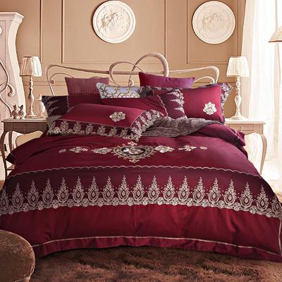 G+家纺 60贡缎刺绣六件套 1.8m(6英尺)床 馨香