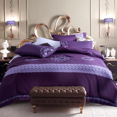 G+家纺 60贡缎刺绣六件套 1.8m(6英尺)床 紫色
