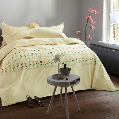 G+家纺 全棉绣花四件套 1.8m(6英尺)床 西西拉黄