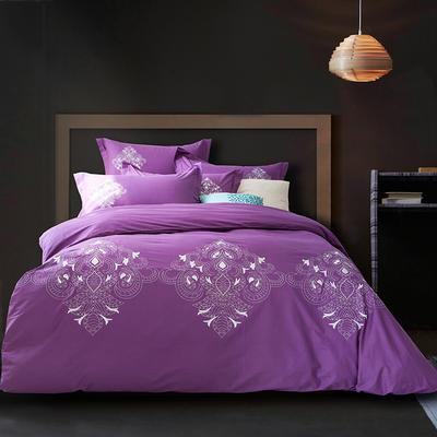 G+家纺 全棉绣花四件套 1.8m(6英尺)床 洛斯紫